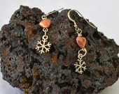 Silver snowflakes and copper heart earrings - a perfect pair