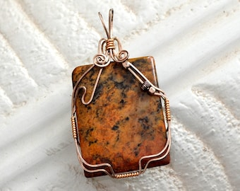 "Wire wrapped jasper pendant.  Sterling Silver and14K gold filled ""fallen leaf"""