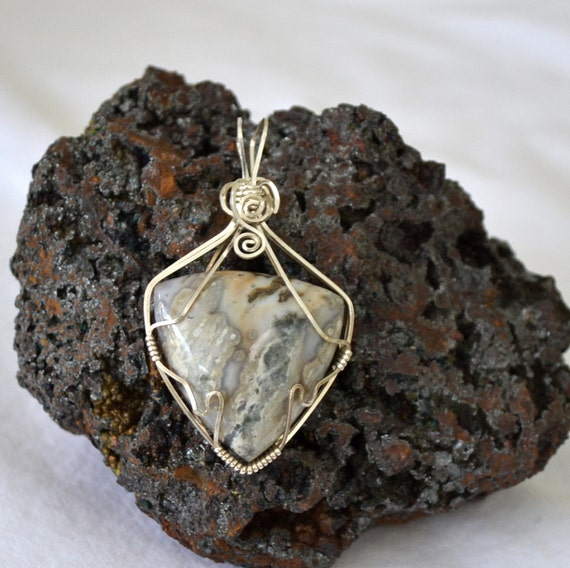 RESERVED Ocean Jasper pendant wire wrapped in Sterling Silver. pale green Trillion shape.