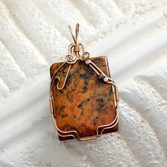 """Wire wrapped jasper pendant.  Sterling Silver and14K gold filled """"fallen leaf"""""""