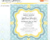 Teal and Yellow Bridal Shower Invitation - DIY Printable - Yellow Chevron