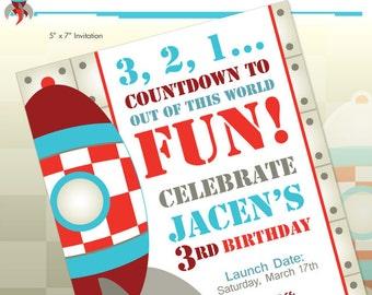 Rocket Ship Spaceship Birthday Party Printable Invitation - DIY Print - Blast Off
