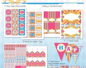 Pink Circus Printable Birthday Party Package - DIY Print - Vintage Carnival - Hot Pink, Aqua - Made to Order
