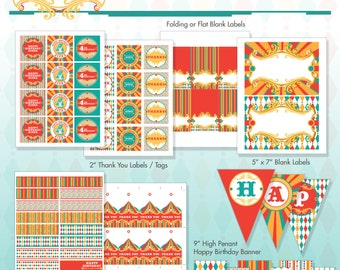 Vintage Carnival Circus Printable Birthday Party Package - DIY Print