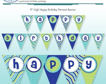 Printable Pool Party Happy Birthday Banner - DIY Print - Summer Stripes - Ocean - Instant Download