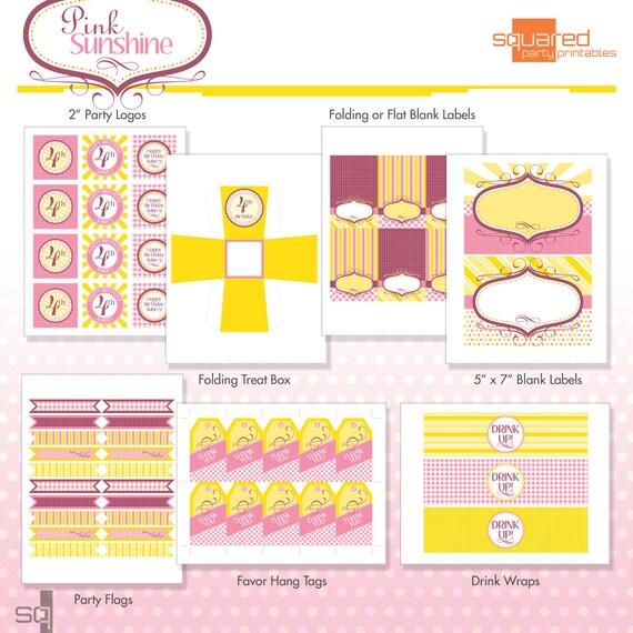 Printable Pink Lemonade Birthday Party Package - DIY - Do-It-Yourself Printables - Pink Sunshine