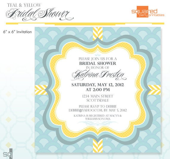 Teal and Yellow Bridal Shower Invitation - DIY Printable - Yellow Chevron