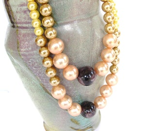 """Vintage Necklace Peach Champagne Faux Pearl Double Stand 24"""" 60's"""