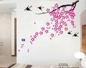 Oriental Blooming Plum Branch  -Vinyl Wall Decal Sticker Art