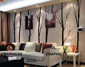 Large Winter Trees - Set of 7 trees - 102 inches -Vinyl Wall Decal Sticker Art,Wall Hanging, Mural
