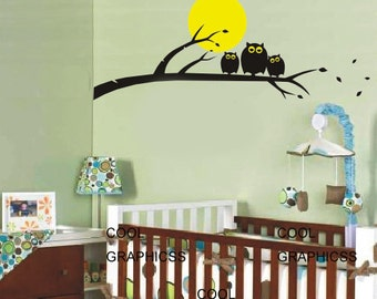 Three Owls on the Branches - Vinyl Wall Decal Sticker Art,Wall Hanging, Mural