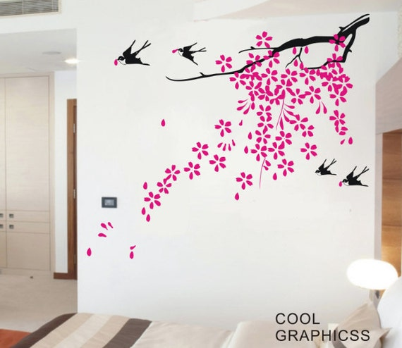 Oriental Blooming Plum Branch  -Vinyl Wall Decal Sticker Art