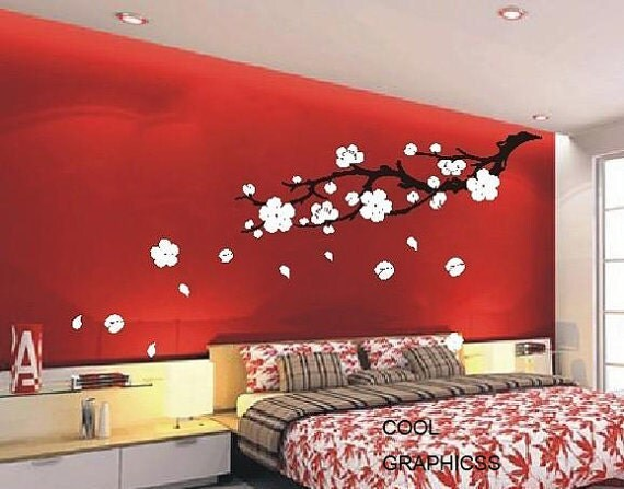 Plum blossom branch 63 inches vinyl wall decal sticker art for Red cream bedroom designs