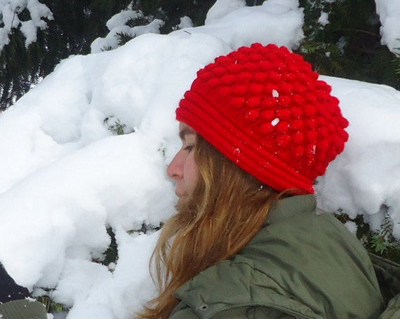 Red Womans Hat Adult Winter Hat with Popcorn and Flower Warm Winter Hat Chunky Crochet Winter Beanie Womens Beanie Flower Hat Teen Girl Hat.