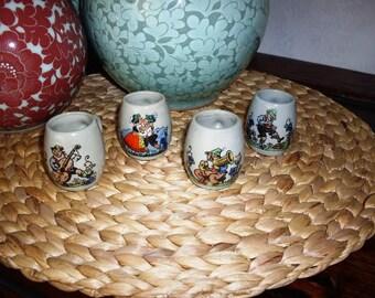Lot of Vintage German Ceramic Miniature Beer Steins with Humourous Scenes