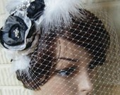 Black & White Feather Fascinator  /Wedding Hairpiece Birdcage Veil / Fascinator / Kentucky Derby Hairpiece