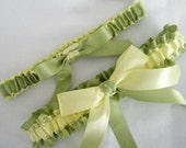 Lime GREEN and YELLOW Yellow Wedding  Garter Set