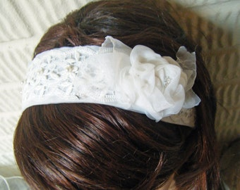 Ivory Venice Lace and Flower Wedding Headband Headpiece Boho Hippie Traditional