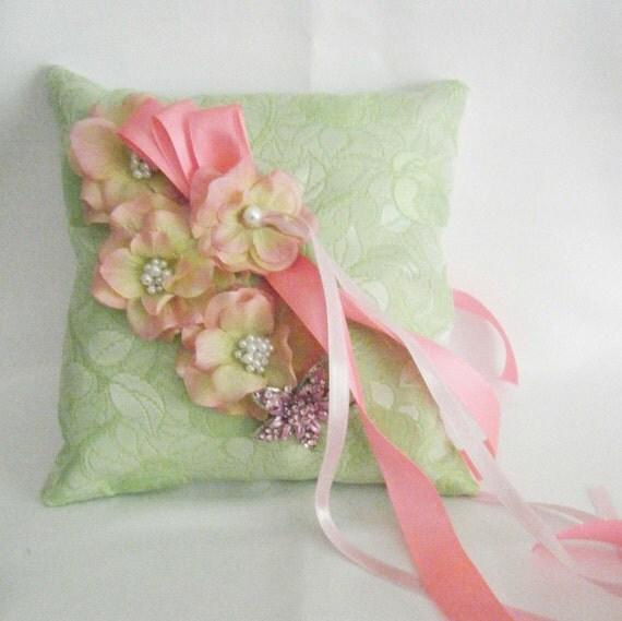 Green Brocade Ring Bearer Pillow/Wedding Pillow for Garden Wedding