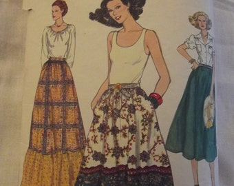 Vintage Pattern, Retro Skirt Pattern, Vogue 9812, 60s 70s Skirts Boho Hippie Peasant Full Skirts with ruffle, Border Print, Size waist 26 in