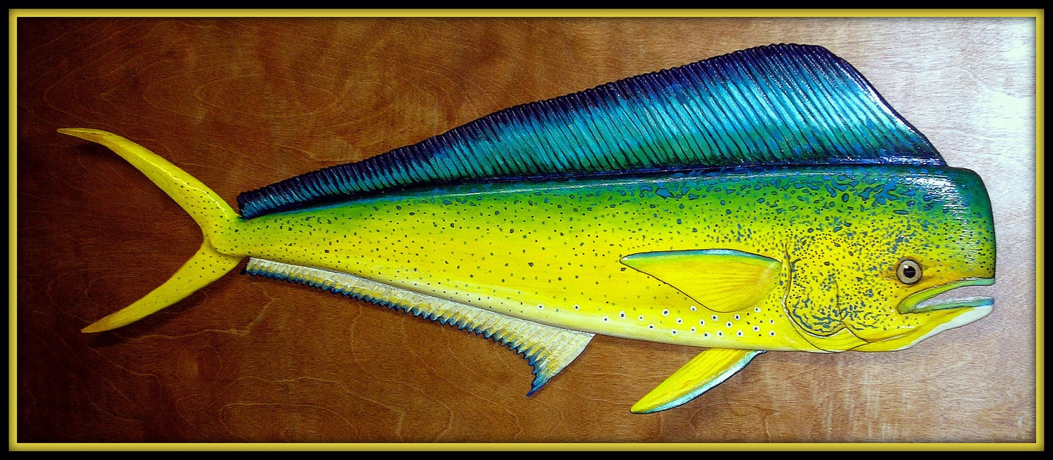 Dolphinfish mahi dorado wood carving wall mount inch