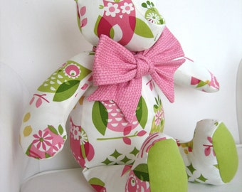 MADE TO ORDER - Olivia- Pink and Green Girly Owl Print Fabric Teddy Bear