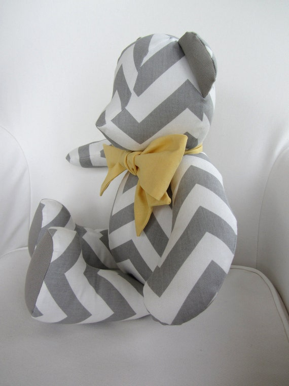 MADE TO ORDER - Dylan - Gray and White Chevron Fabric Teddy Bear