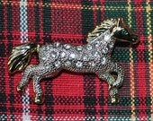 Vintage Rhinestone Horse green eyed noble steed Brooch Pin
