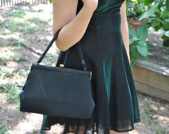 Vintage Kelly bag Black ruched design New unused deadstock Rock it like a movie star