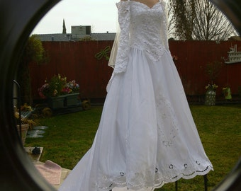 Boned  white long sleeves off the shoulder long train wedding dress size 10-12