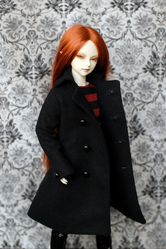 MSD Clothes Black Wool Coat For BJD - Last One