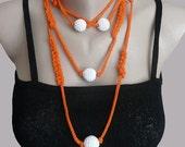 Handmade Cord Necklace Bracelet Jewelry in Orange whit Crochet Beads Girl Teen Woman Crazy