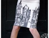 Pencil skirt - Printed skirt - Off White Mini skirt - Black White - SMALL