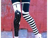 Pippi Leggings - Black and White Striped Legging Polka Dot Legging - Womens Tights