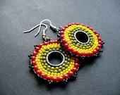 African hoop earrings - reggae, rasta, Jamaica, Made to order