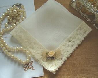 Bride wedding hanky Vintage bride handkerchief Bridal shower gift Ivory handkerchief Silk lace Handkerchief Personalized handkerchief Hankie