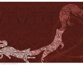 Jumping burgundy steampunk foxes (A3 print)