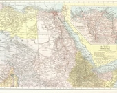 1930s Vintage Map of Africa North East, Large to Frame, Inset maps of the Nile River Delta and the Suez Canal