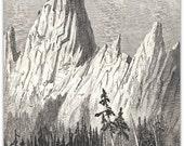 Castellated Rock  Antique Engraving California 1895 Art Print Illustration