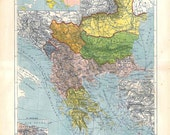 Vintage Map of the Balkans 1910s Political Division