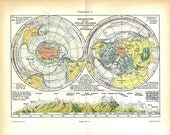 Vintage Map Polar Ice Caps Glaciers