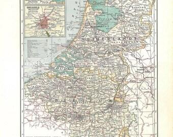 Antique Map Netherlands, Belgium, Luxemburg, 1930s Large Map to Frame
