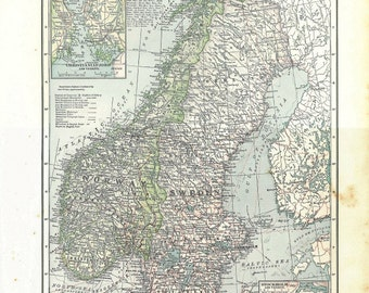 Norway and Sweden Vintage Map 1930s Large, to Frame
