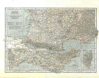 Antique  Map South of France 1930s Large, to Frame