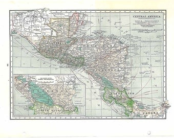 Vintage Map Central America 1930s  Large to Frame