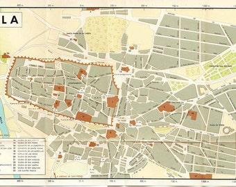 Vintage City Map Avila Spain 1950s Mid Century Modern