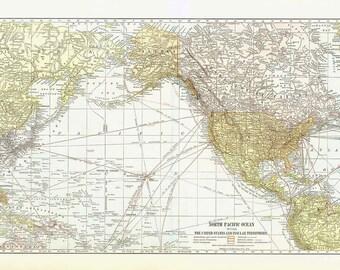 pacific ocean depth map  North Pacific Ocean Vintage Map,