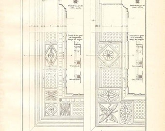 Architectural Print Doric Cornices Ceiling  Drawing Vignola 1920s