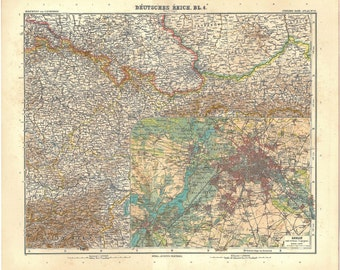 1914  South East Germany Vintage Map,  Berlin and Surroundings