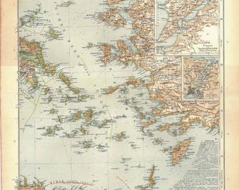 1912 Antique Map Balkan Peninsula, Aegean Archipelago